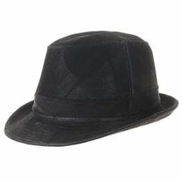 WITHMOONS Fedora Hut Bogarthut Mafiahut Vintage Weathered Leather Indiana Jones Fedora Hat LD6392 (Black, XL) -