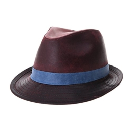 WITHMOONS Fedora Hut Bogarthut Mafiahut Vintage Weathered Leather Indiana Jones Fedora Hat GN6746 (Wine) -