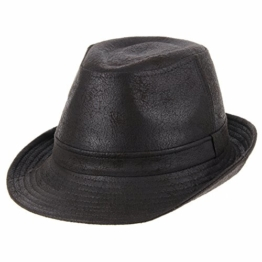 WITHMOONS Fedora Hut Bogarthut Mafiahut Indiana Jones Faux Leather Fedora Hat LD3278 (Darkbrown, XL) -