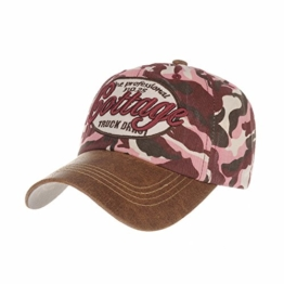 WITHMOONS LX1201 Baseballmütze Camouflag Military Cotton Baseball Cap Destressed Trucker Hat (Red) -