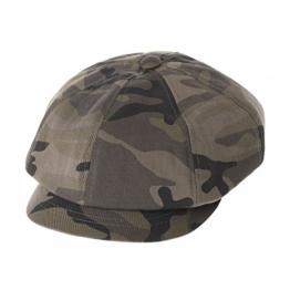 WITHMOONS Schlägermütze Golfermütze Schiebermütze Cotton Newsboy Hat Camouflage Baker Boy Beret Flat Cap KR3612 (Brown) -