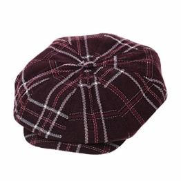 WITHMOONS Schlägermütze Golfermütze Schiebermütze Cotton Baker Boy Cap Tartan Check Plaid Beret Ivy Hat LD3707 (Red) -