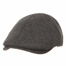 WITHMOONS Schlägermütze Golfermütze Schiebermütze Newsboy Hat Flat Cap Morse Dot Plaid Check Pattern SL3301 (Brown) -