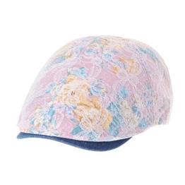 WITHMOONS Schlägermütze Golfermütze Schiebermütze Floral Pattern Lace Crochet Newsboy Hat Flat Cap SL3650 (Pink) -