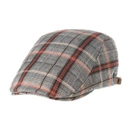 WITHMOONS Schlägermütze Golfermütze Schiebermütze Newsboy Flat Cap Tartan Check Cool Cotton Ivy Hat LD3605 (Grey) -