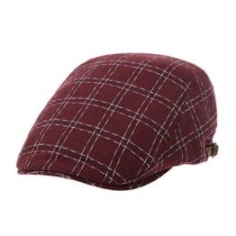 WITHMOONS Schlägermütze Golfermütze Schiebermütze Classic Plaid Checks Newsboy Hat Flat Cap LD3758 (Red) -