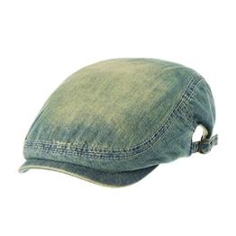WITHMOONS Schlägermütze Golfermütze Schiebermütze Newsboy Hat Washed Denim Jean Flat Cap NC3697 (Lightblue) -