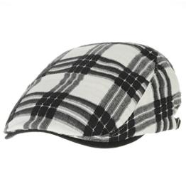 WITHMOONS Schlägermütze Golfermütze Schiebermütze Newsboy Hat Flat Cap Gauze Cotton Classic Plaid Check LD3264 (Black) -