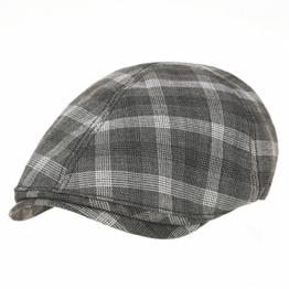 WITHMOONS Schlägermütze Golfermütze Schiebermütze Classic Plaid Check Pattern Cotton Newsboy Flat Cap SL3244 (Grey) -