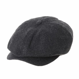 WITHMOONS Schlägermütze Golfermütze Schiebermütze Newsboy Hat Wool Felt Simple Gatsby Ivy Cap SL3525 (Black) -