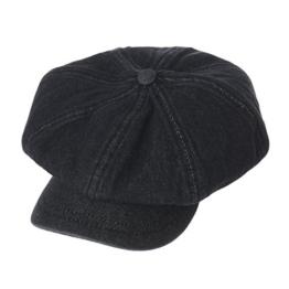 WITHMOONS Schlägermütze Golfermütze Schiebermütze Denim Cotton Newsboy Hat Baker Boy Beret Flat Cap KR3613 (Black) -