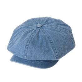 WITHMOONS Schlägermütze Golfermütze Schiebermütze Denim Cotton Newsboy Hat Baker Boy Beret Flat Cap KR3613 (Lightblue) -