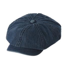 WITHMOONS Schlägermütze Golfermütze Schiebermütze Denim Cotton Newsboy Hat Baker Boy Beret Flat Cap KR3613 (Darkblue) -