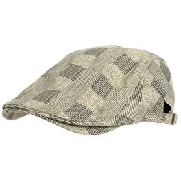 WITHMOONS Schlägermütze Golfermütze Schiebermütze Tartan Check Newsboy Hat Flat Cap SL3036 (Ivory) -