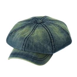 WITHMOONS Schlägermütze Golfermütze Schiebermütze Baker Boy Flat Cap Stitchy Beret Washed Denim Jean Hat NC3696 (Blue) -