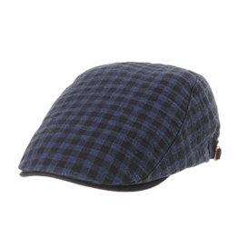 WITHMOONS Schlägermütze Golfermütze Schiebermütze Newsboy Flat Cap Plaid Gingham Check Cool Cotton Ivy Hat LD3596 (Navy) -