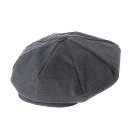 WITHMOONS Schlägermütze Golfermütze Schiebermütze Cotton Baker Boy Flat Cap Monochrome Beret Ivy Hat LD3602 (Grey) -
