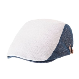 WITHMOONS Schlägermütze Golfermütze Schiebermütze Summer Linen Flat Cap Two Block Neutral Color Ivy Hat LD3050 (Blue) -