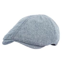 WITHMOONS Schlägermütze Golfermütze Schiebermütze Diagonal Pin Stripe Newsboy Hat Flat Cap SL3049 (Blue) -
