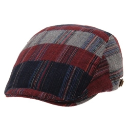 WITHMOONS Schlägermütze Golfermütze Schiebermütze Classic Checks Stripes Newsboy Hat Knitted Flat Cap LD3772 (Red) -