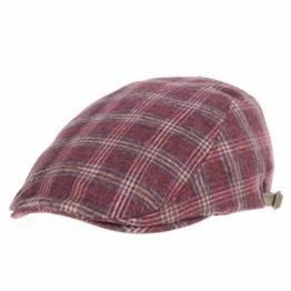 WITHMOONS Schlägermütze Golfermütze Schiebermütze Flat Cap Tartan Check Pattern Winter Warm Ivy Hat LD3418 (Red) -