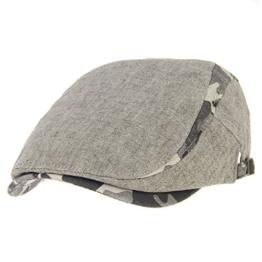 WITHMOONS Schlägermütze Golfermütze Schiebermütze Newsboy Hat Flat Cap Camouflage Melange Cotton AC3337 (Brown) -