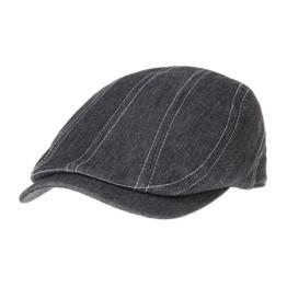 WITHMOONS Schlägermütze Golfermütze Schiebermütze Stitched Denim Newsboy Hat Flat Cap LD3182 (Black) -