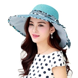 Yimidear Sonnenschutz Haut Hat Female Sommer Strohhut faltbarer Sonnenhut Windproof Hat Women Anti-UV-Hats Ladies Beach Hat großen Hut (Blue) -