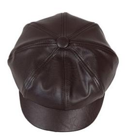 YL Damen PU Schirmmütze Ballonmütze Einheitsgröße Regenmütze (Braun) -