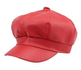 YL Damen PU Schirmmütze Ballonmütze Einheitsgröße Regenmütze (Rot) -
