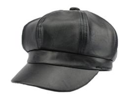 YL Damen PU Schirmmütze Ballonmütze Einheitsgröße Regenmütze (Schwarz) -
