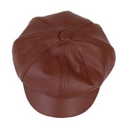 YL Damen PU Schirmmütze Ballonmütze Einheitsgröße Regenmütze (Dunkelkaffee) -