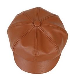 YL Damen PU Schirmmütze Ballonmütze Einheitsgröße Regenmütze (Kaffee) -