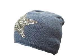 Zwillingsherz Beanie Mütze mit Cashmere mit Patches Sternen Anker (Pailletten Stern denim blue) -